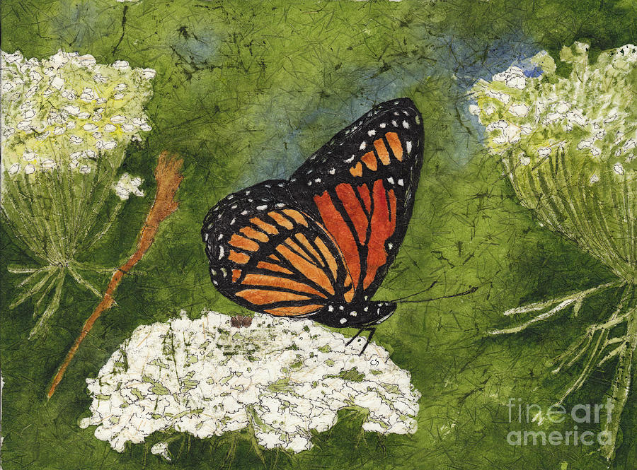 Viceroy Butterfly On Queen Annes Lace Watercolor Batik Painting