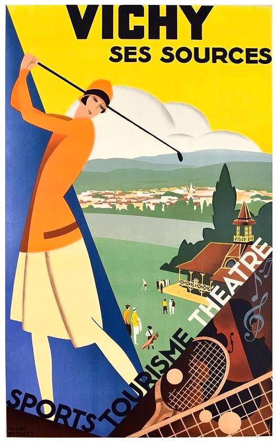 Vichy Painting - Vichy, Sport Tourism, Woman Play Golf by Long Shot