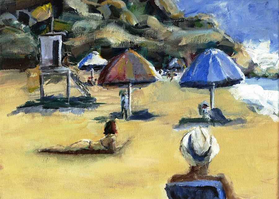 Umbrella Painting - Victoria Beach White Hat by Randy Sprout