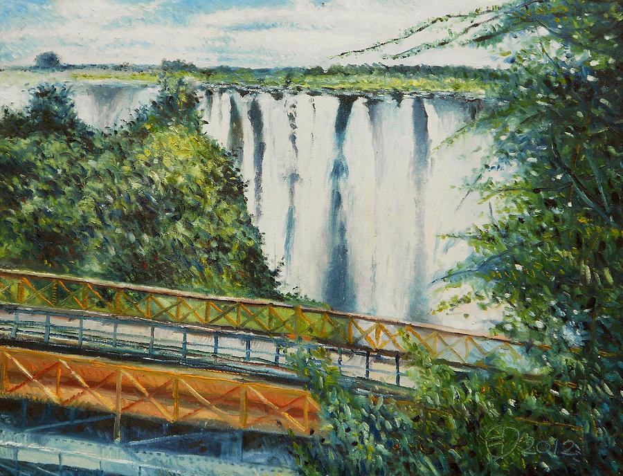 Victoria Falls Painting - Victoria Falls Zimbabwe 2012 by Enver Larney