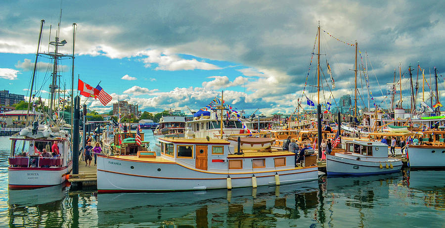 Boats Photograph - Victoria Harbor old boats by Jason Brooks