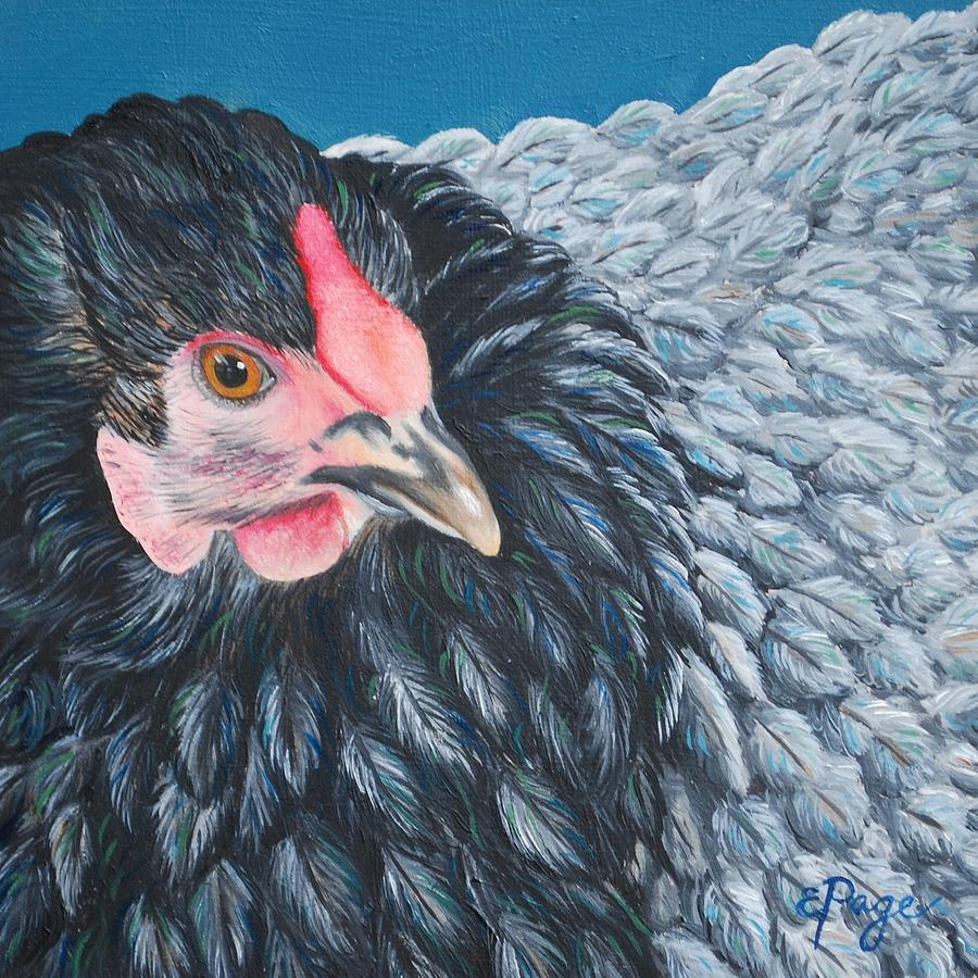 Chicken Painting - Victoria, Lavender Cochin Chicken by Emily Page