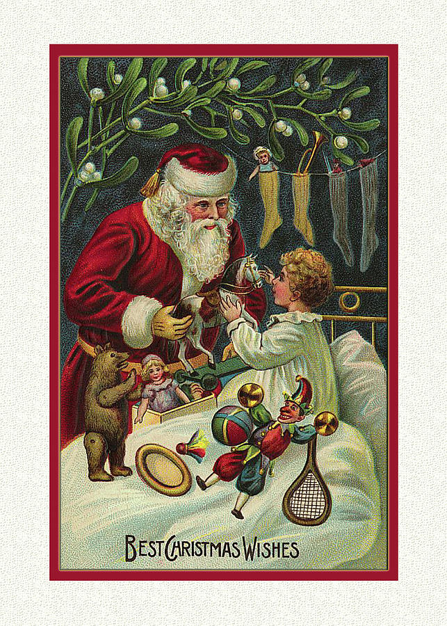 Victorian Christmas Card Santa Photograph by Denise Beverly