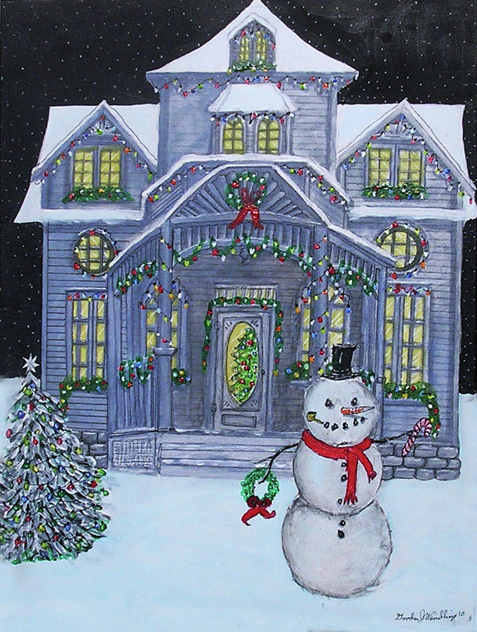 Victorian Christmas House Painting by Gordon Wendling