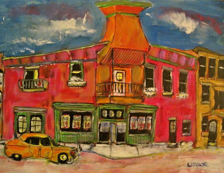 St.henri Foodstore Depanneur Montreal Painting - Victorian Dinosaur by Michael Litvack