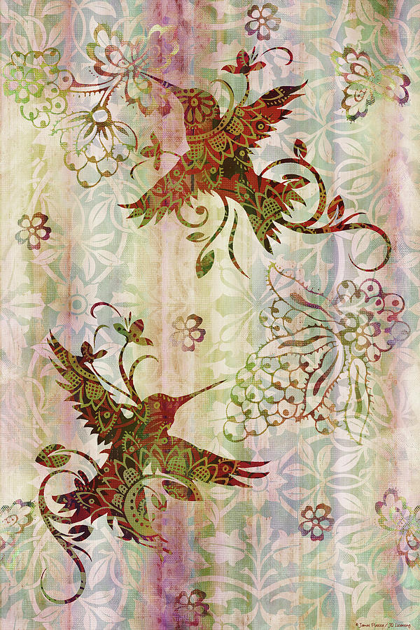 Flowers Painting - Victorian Humming Bird Pink by JQ Licensing