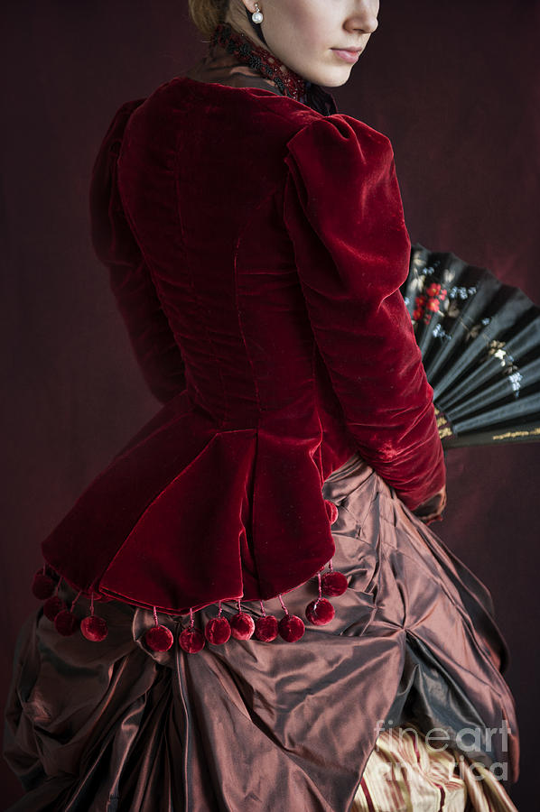 Victorian Photograph - Victorian Lady In A Red Bussle Ensemble by Lee Avison