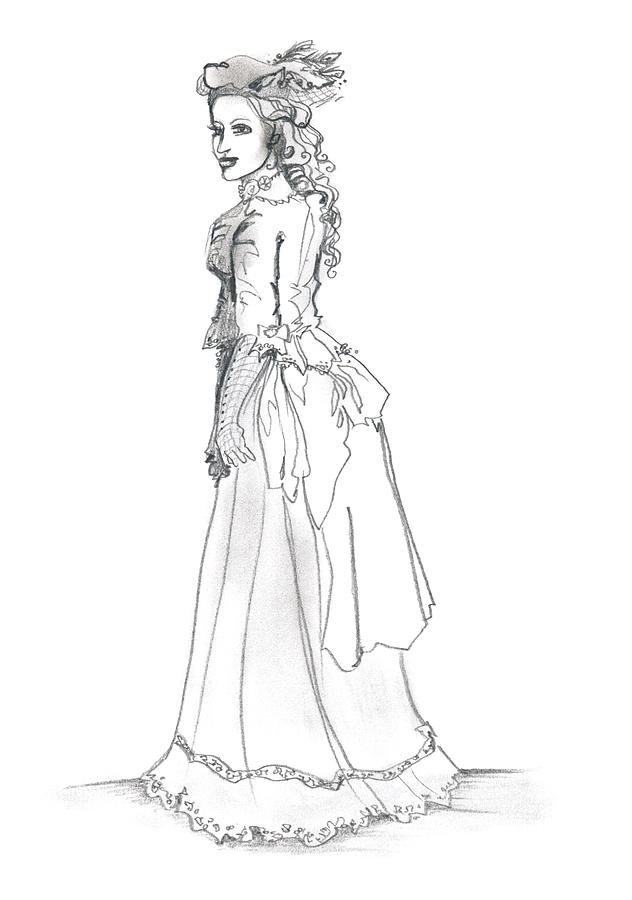 Victorian Lady Drawing By Katherine Nutt