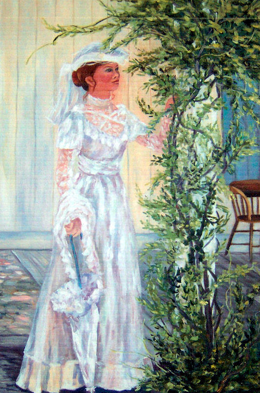 Victorian Painting - Victorian Lady on Poarch by Lorna Skeie