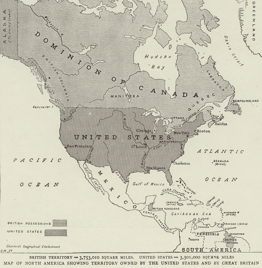 Map Of North America Showing States.Victorian Map Of North America Showing Territory Owned By The