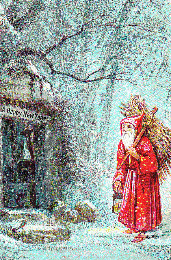 santa painting victorian new years card with father christmas carrying bundle of sticks on a
