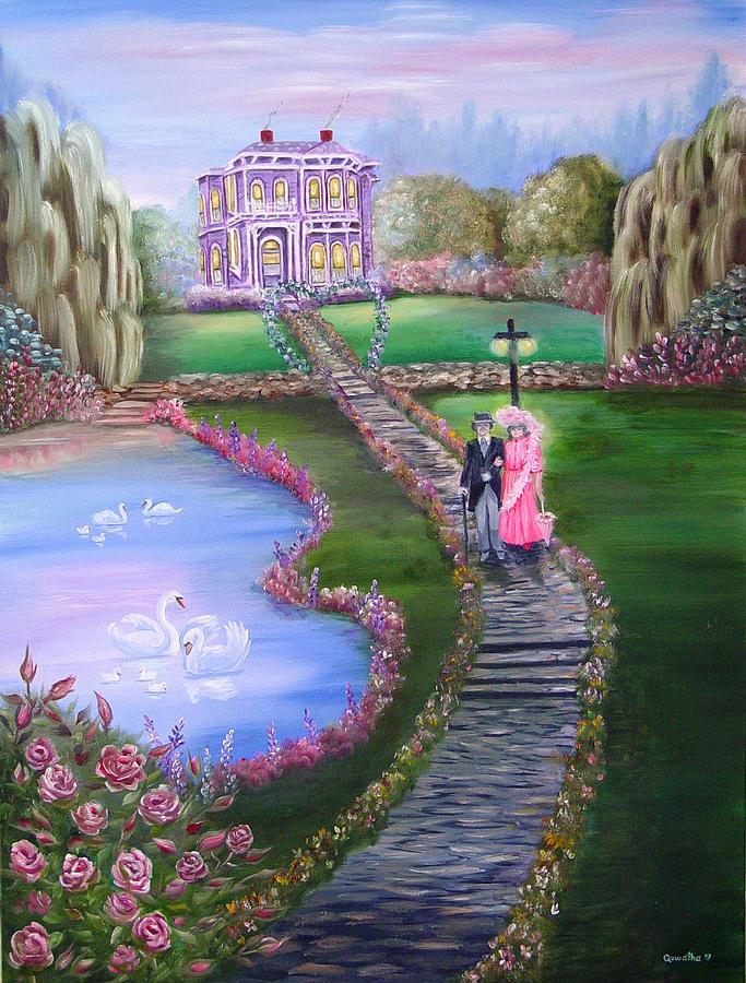Victorian Painting - Victorian Romance 2 by Quwatha Valentine