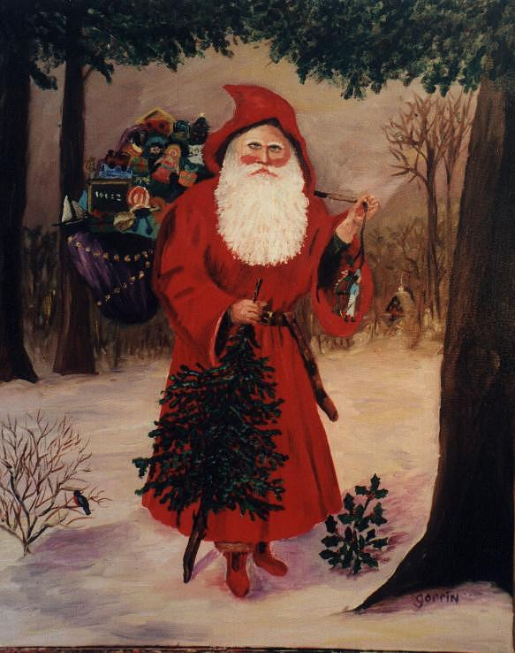 Christmas Painting - Victorian Santa by Roger E Gorrin