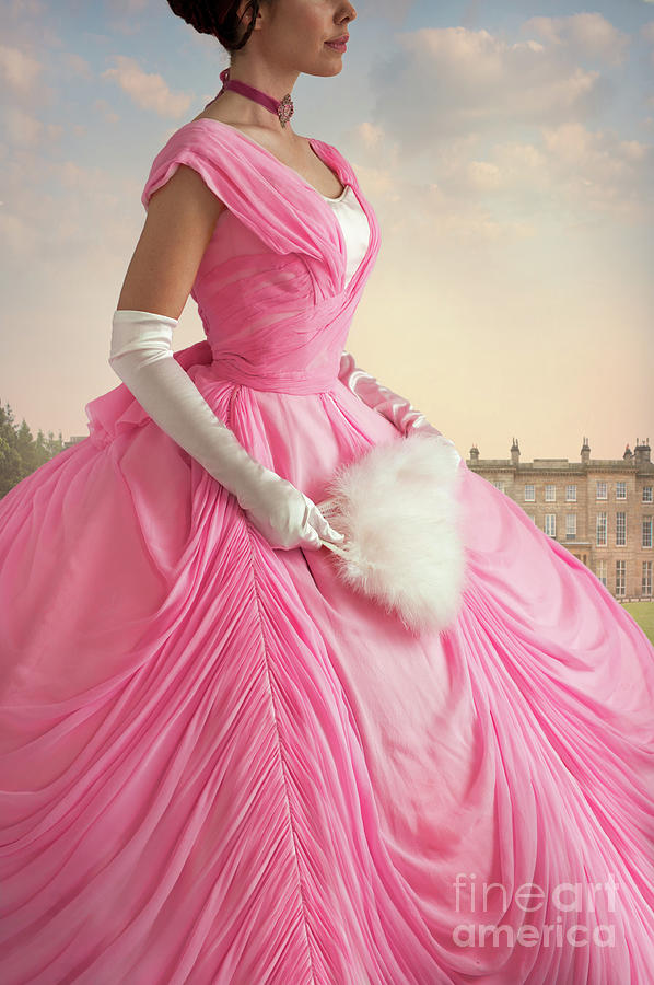 Victorian Woman In A Romantic Pink Ball Gown Photograph By Lee Avison
