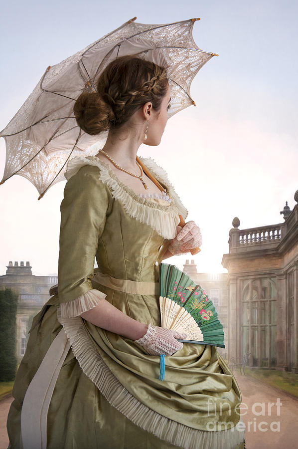 Victorian Woman Looking Back To A Country Estate