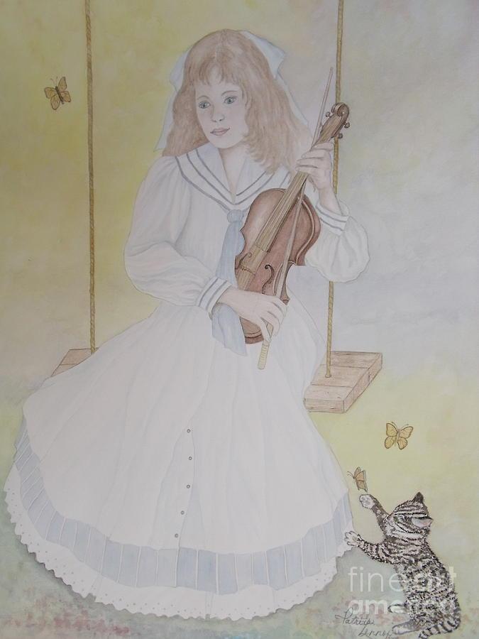 Girl Painting - Victorias Violin by Patti Lennox
