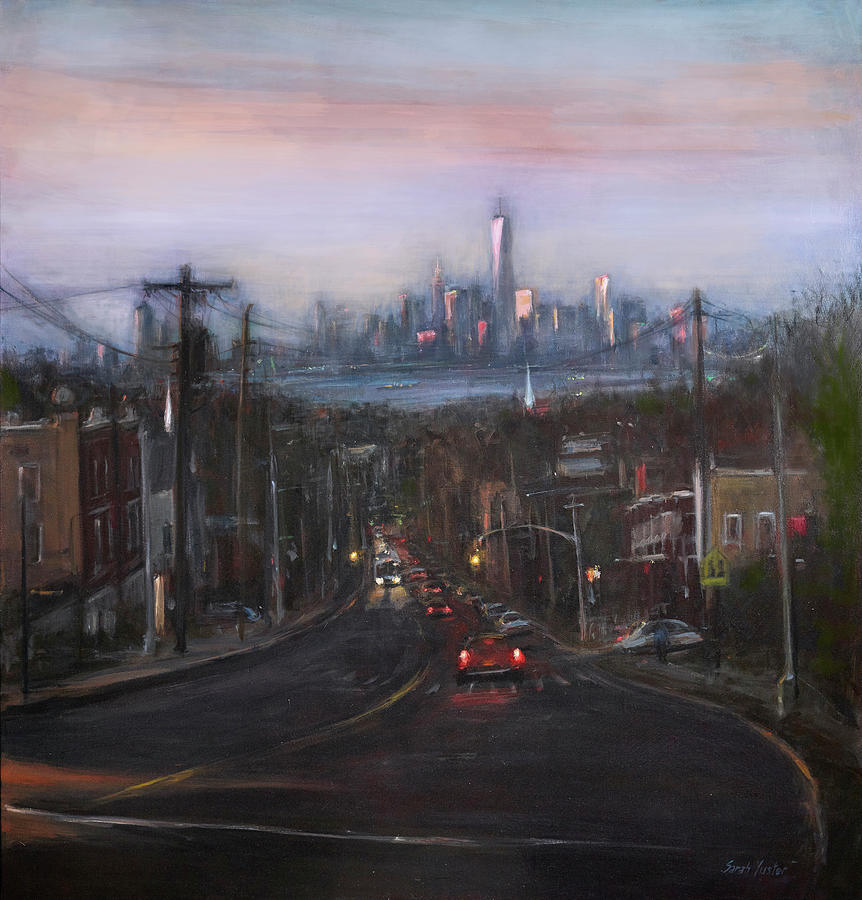 Manhattan Skyline Painting - Victory Boulevard at Dusk by Sarah Yuster