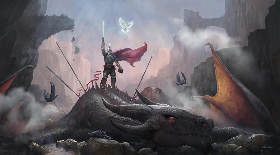 Dragon Digital Art - Victory by Steve Goad