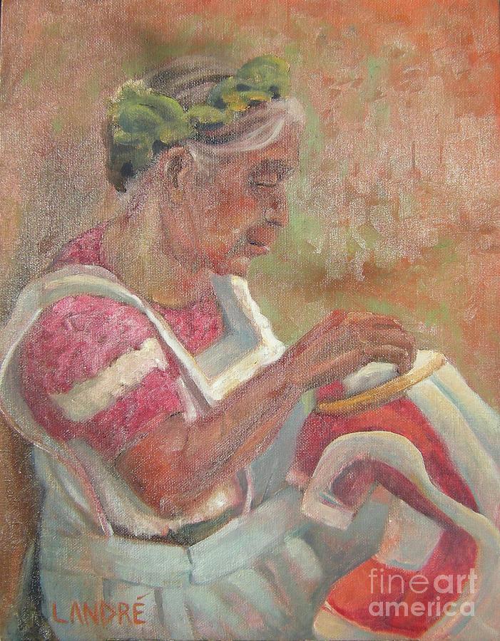 Mexican Painting - Viejita Bordando by Lilibeth Andre
