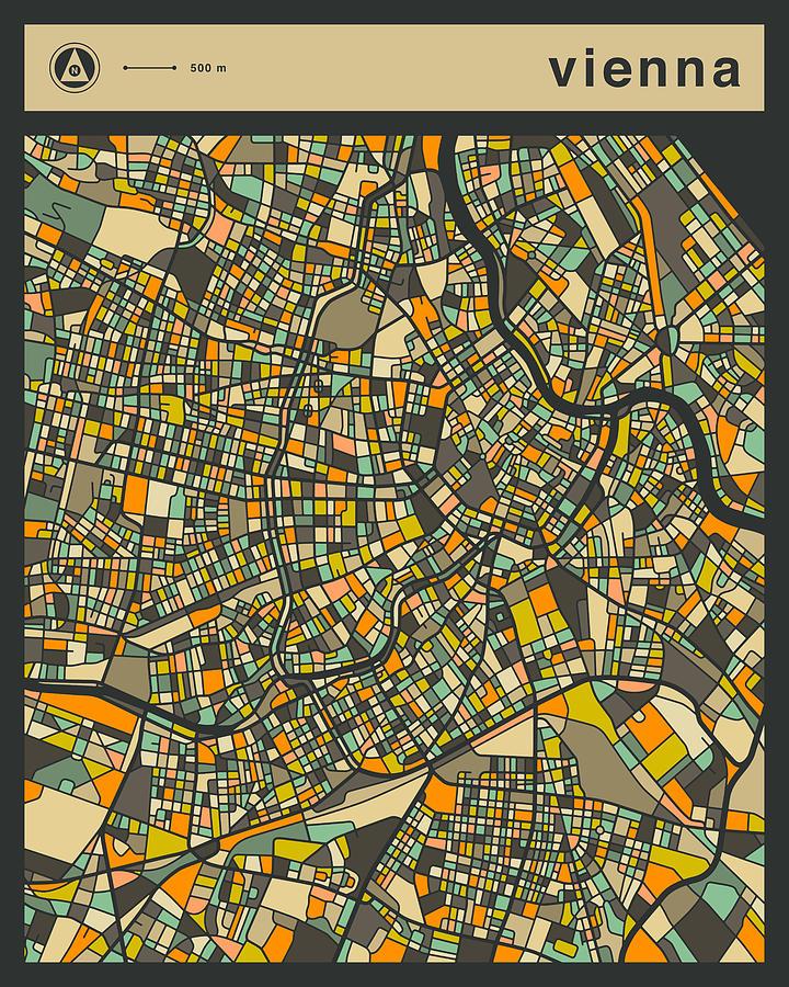 Vienna City Map Digital Art by Jazzberry Blue