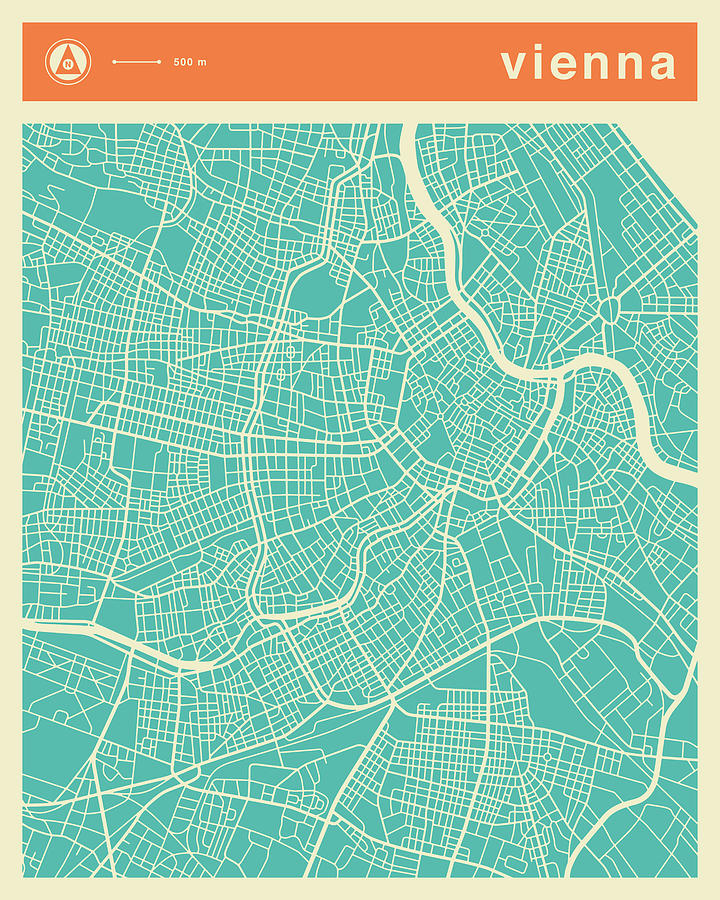 Vienna Street Map Digital Art by Jazzberry Blue