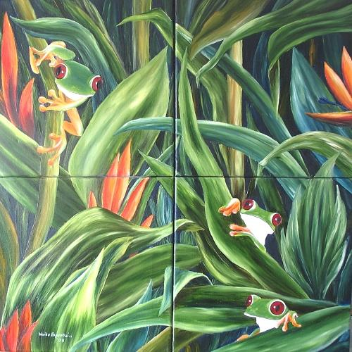 Red Eyed Tree Frog Painting - Vier Froesche   Four Frogs by Haike Espenhain