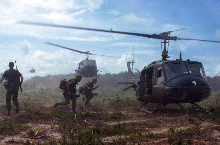 1960s Candids Photograph - Vietnam War, Uh-1d Helicopters Airlift by Everett