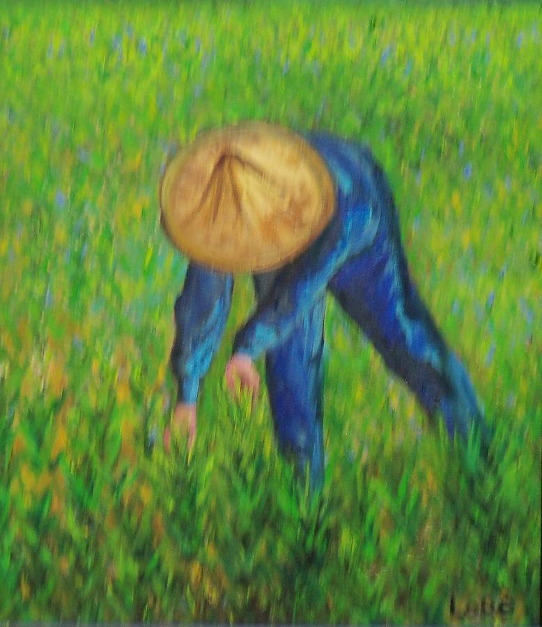 Landscape Painting - Vietnamese Rice Planter  by Lore Rossi