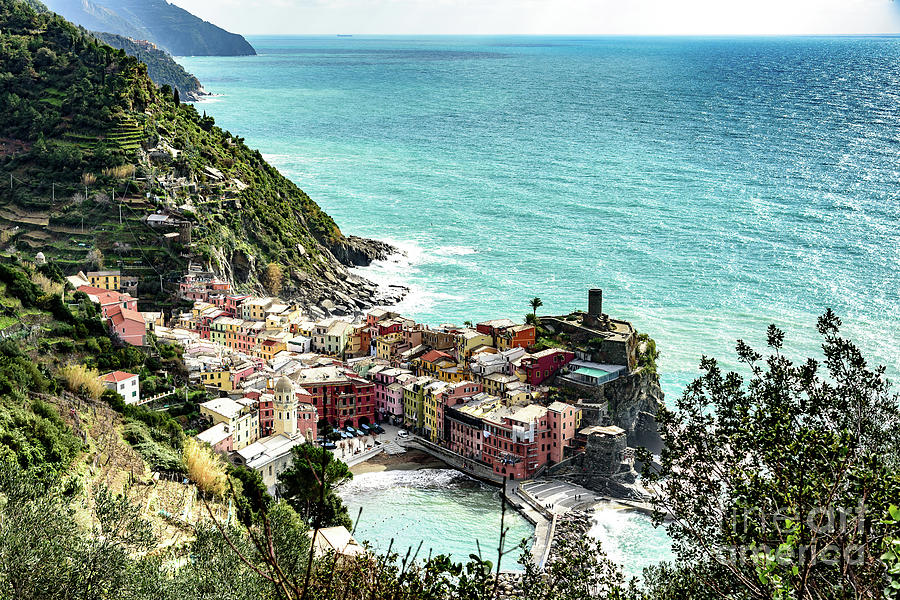 View above Vernazza, Cinque Terre, Italy by Global Light Photography - Nicole Leffer