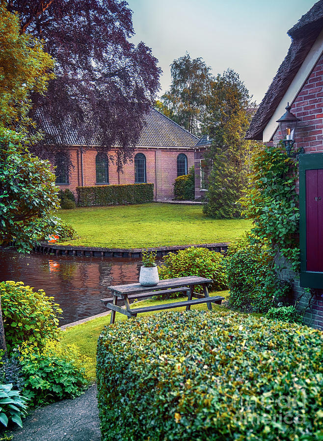 Water Photograph - View At Old Church  In Dutch Village by Ariadna De Raadt