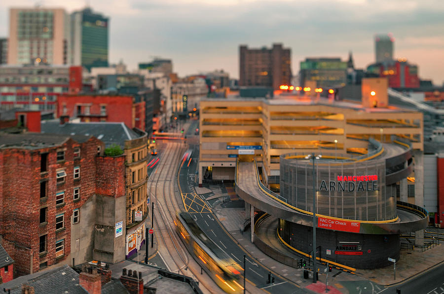 View down Nicholas Croft towards Manchester Arndale, Manchester, by Neil Alexander Photography
