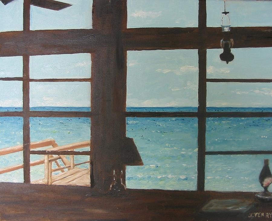 Seascape Painting - View From Blue House II by John Terry