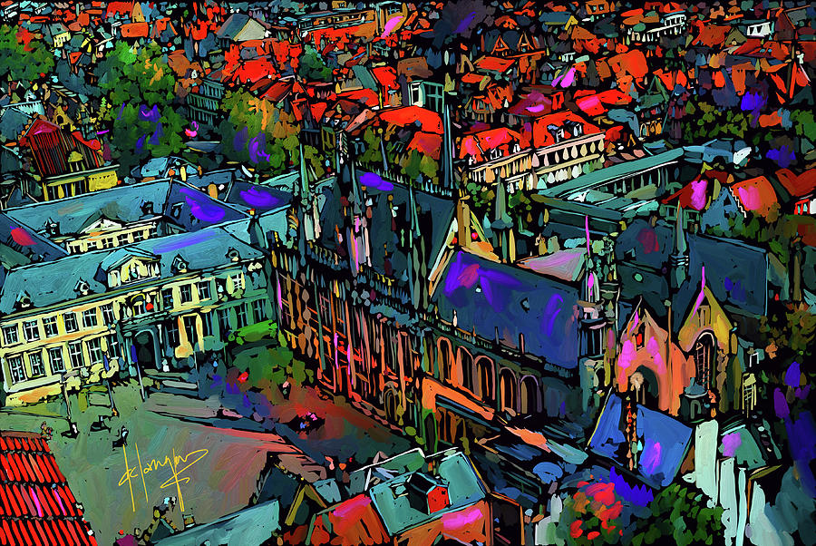 View From Clock Tower, Bruges, Blegium Painting