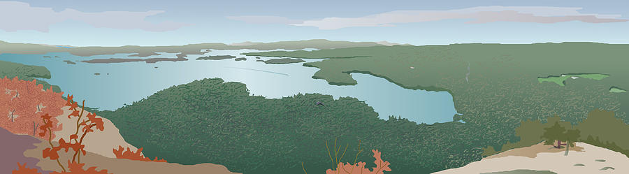 Squam Lake Painting - View from Rattlesnake by Marian Federspiel