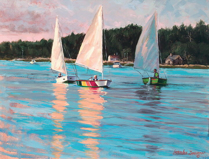 Seascape Painting - View From Richs Boat by Laura Lee Zanghetti
