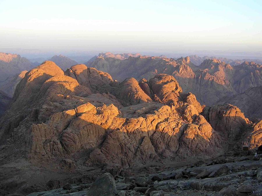 Landscape Photograph - view from Sinai Mountain Egypt by Evguenia Men