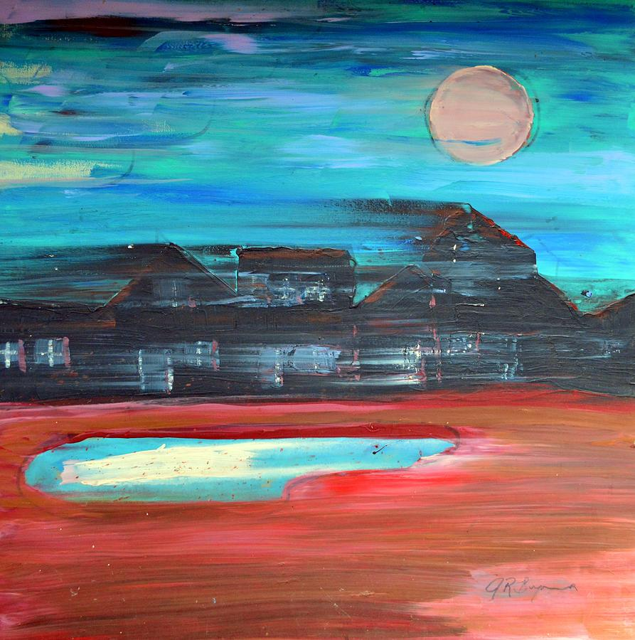 Abstract Impressionism Painting - Riding The Night Train by J R Seymour