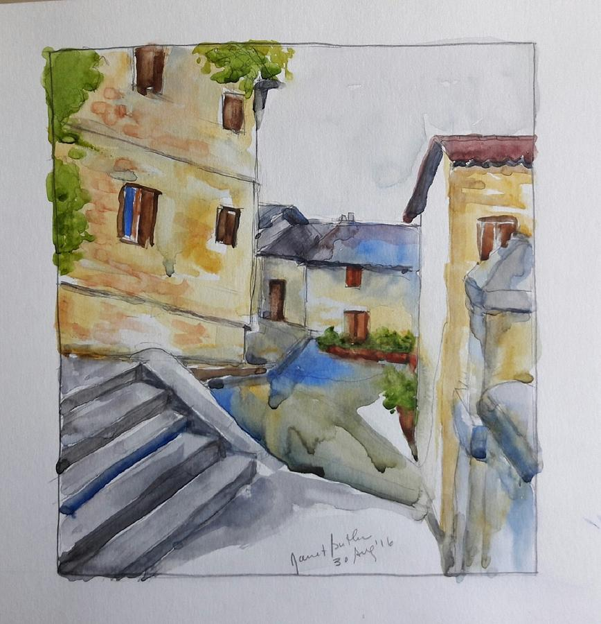 Watercolor Painting - View From The Steps  by Janet Butler