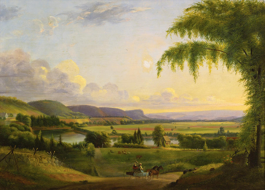 Canvas Prints Painting - View Near Deerfield by Albion Harris Bicknell