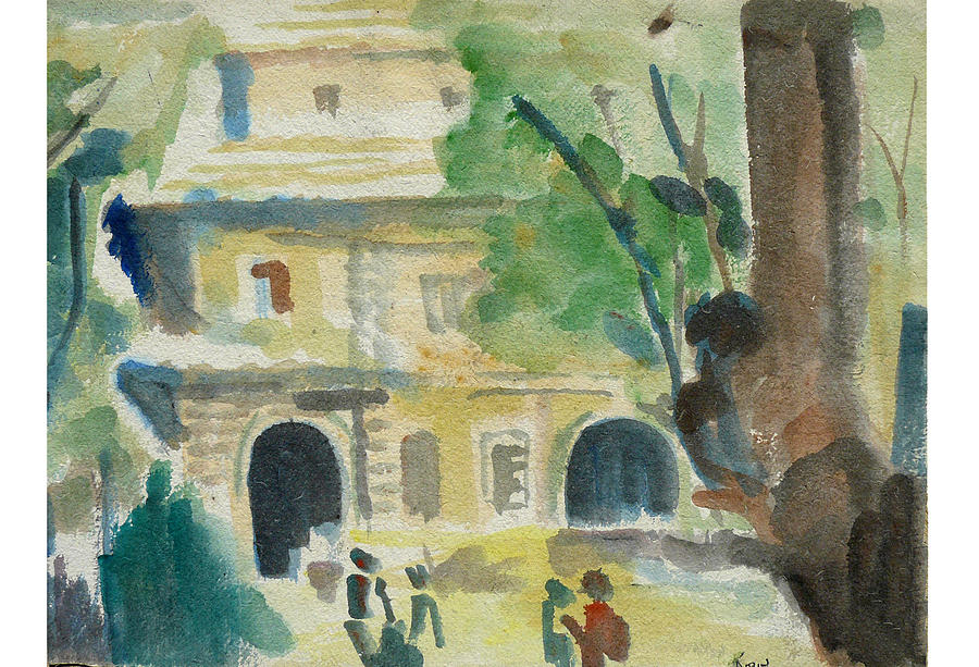 Landscape Painting - View Of A College by Abin Raj