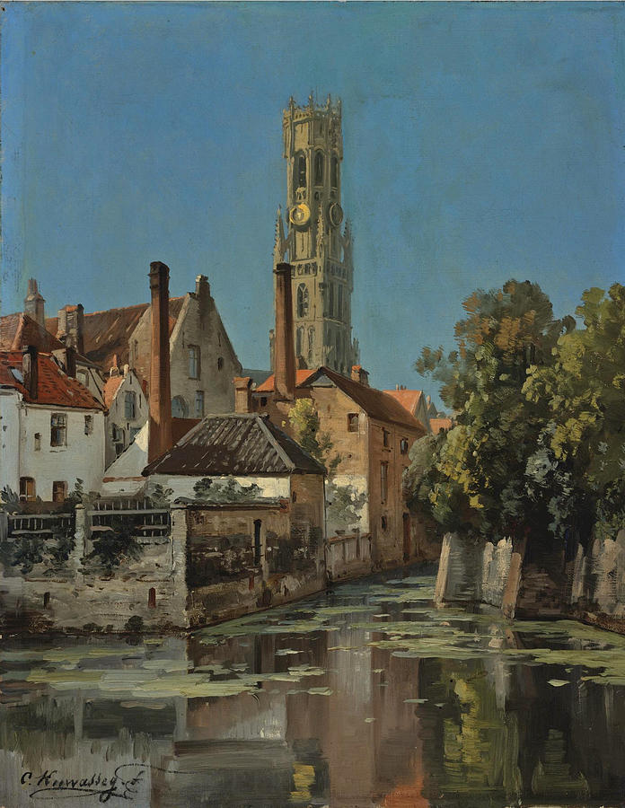 View Of A Moated Town Painting By Charles Euphrasie Kuwasseg