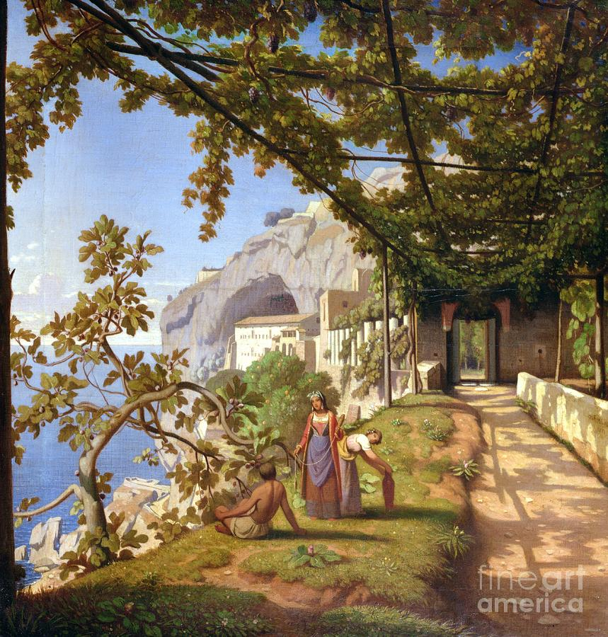 Leaves Painting - View Of Capri by Theodore Aligny