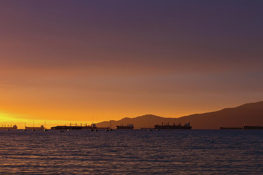 Vancouver Photograph - View Of Cargo Ships From Sunset Beach Vancouver Bc by David Gn