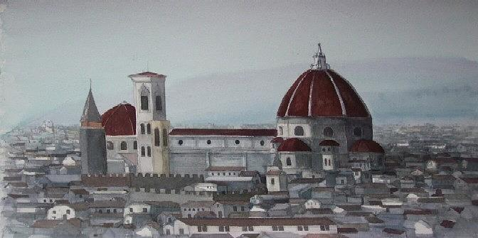 Landscape Painting - View Of Florence by Steven Bower