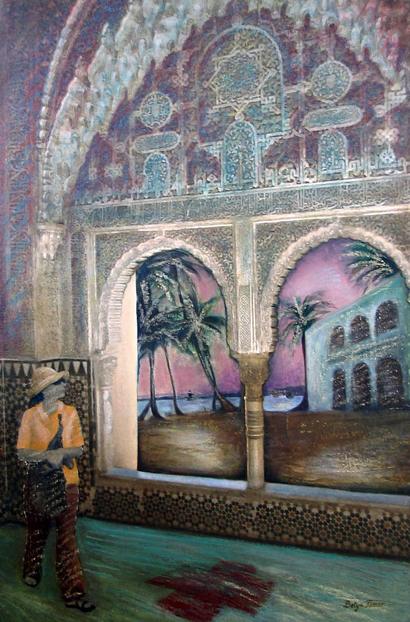 Woman Painting - View Of Hispaniola From The Alcazar by Barbara Nesin