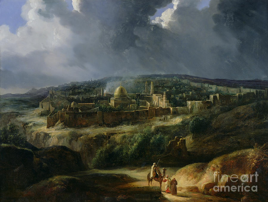 Jerusalem Painting - View Of Jerusalem From The Valley Of Jehoshaphat by Auguste Forbin