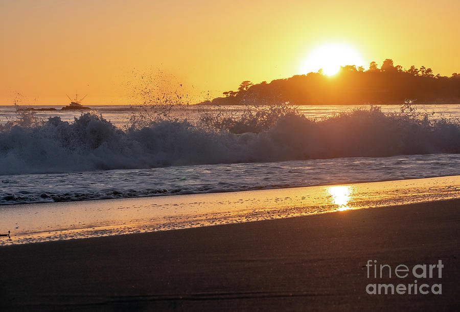 California Photograph - View Of Large Fishing Boat From The Beach At Sunset by PorqueNo Studios