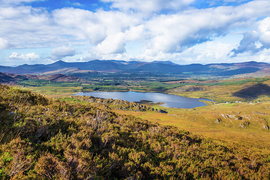 View of Lough Acoose in Ballycullane from the foothill of Macgil by Semmick Photo
