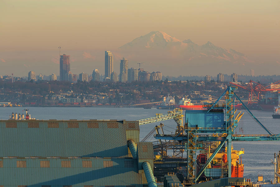 Vancouver Photograph - View of Mount Baker and Vancouver BC at Sunset by David Gn