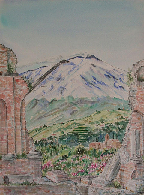 Landscape Painting - View Of Mount Etna From Roman Theater by Richard Bulman